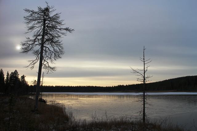 Tällaisia näkymiä voi ihastella Tunturijärven laavulla, joka löytyy Olostunturin kiertävän reitin varrelta.