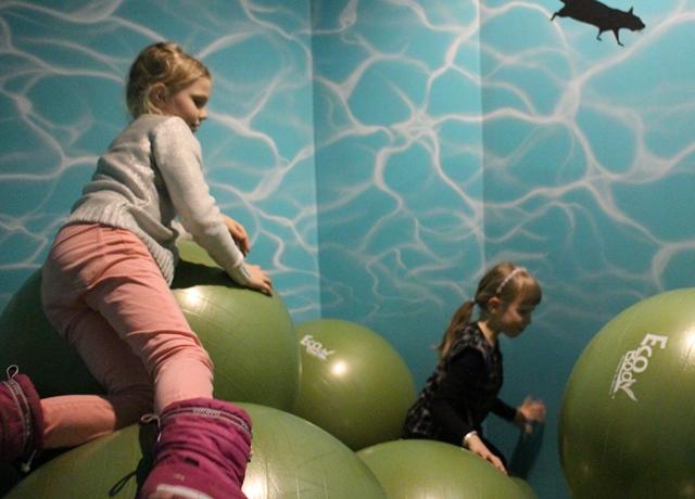 """Yksi tyttöjen suosikeista oli tämä erikoinen """"pallomeri"""". Kuva: KivaaTekemistä.fi"""