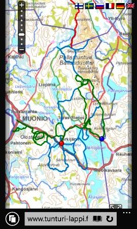 Tunturi-Lappi.fi -sivustolta näkee ajantasaisen latujen kunnon kännykällä tai tietokoneella. Lähde: Tunturi-Lappi.fi