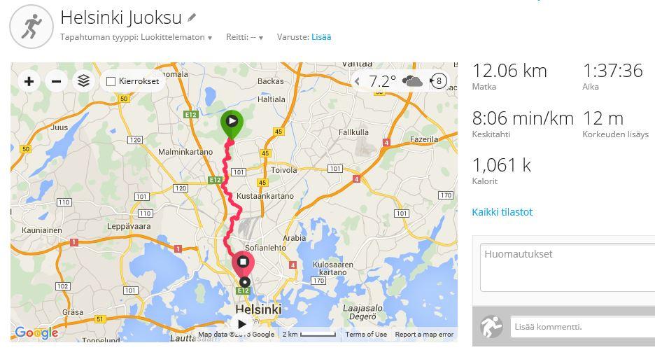 Keskuspuisto ulottuu pitkälle. Helsinki City Trail -tapahtuman 12 km reitti Paloheinästä Olympiastadionille sisältää yllättäen jopa 9 km polkuja, 2 km hiekkapitoista ulkoilutietä, 0,1 km pururataa ja vain n. 0,9 km asfalttia. Kuva: KivaaTekemistä.fi/ Garmin Connect