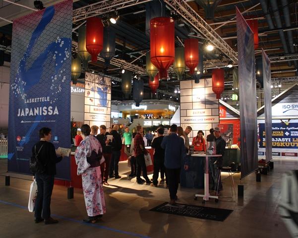 Skiexpo 2015. Messuilla pääsee tutustumaan eksoottisiinkin kohteisiin kuten Japaniin. Kuva: KivaaTekemistä.fi